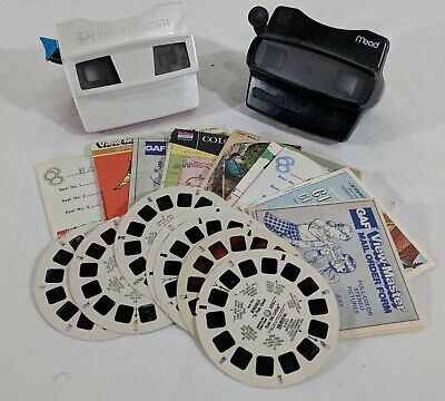 MLD Viewmaster View-Master Mead 3-D & GAF Lot W 22 Reels & 2 Viewers & Booklets