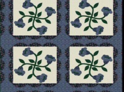 ***ON SALE**King Size Cheater Quilt Top Lilies Navy 90 x 108 (3 Yards)