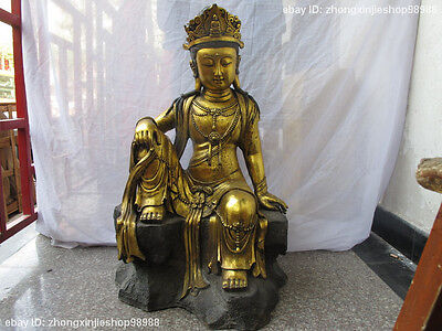 "32""Tibetan Collect Folk Copper Bronze gilt Guan Yin Kwan-yin Buddha statue"