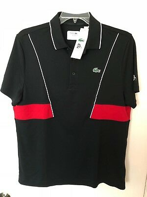 a2130a00 Nwt Lacoste Sport Novak Djokovic Men's Polo Shirt Polyester Ultra Dry Black  Red