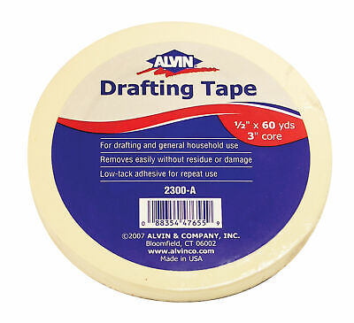 """Alvin 2300-A Drafting Tapes, 60-Yard 3"""" Core 1/2""""."""
