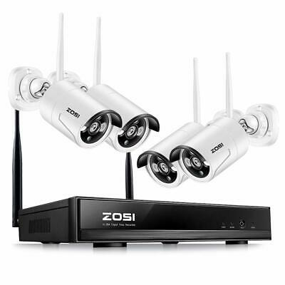ZOSI Wireless Security Cameras System 4CH 1080P HD WiFi NVR and 4pcs 100ft N...