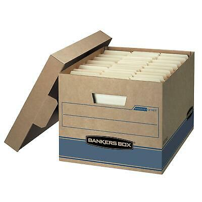 """Bankers Box Heavy Duty Storage Boxes, 10"""" x 12"""" x 15"""" (10 Pack), Kraft Brown and"""