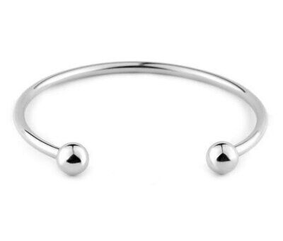 Women Stainless Steel Starter Bracelet Bangle Jewelry Fit Charm Beads