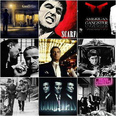 55 Gangster Movies Poster Scarface Goodfellas Pulp Fiction Godfather Art Size A3