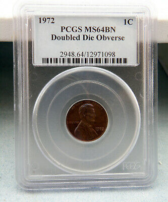 1972 Doubled Die Obverse Lincoln Memorial Cent Copper Penny MS64 BN PCGS
