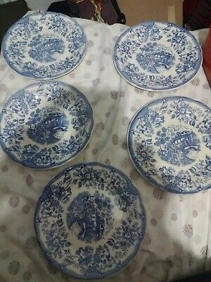 Lote 5 platos Ironstone Tableware Underglaze Made in Italy