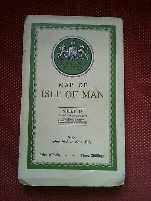 Antique 1942 OS Ordnance Survey Cloth Map ISLE OF MAN 1 inch to 1 mile Sheet 17