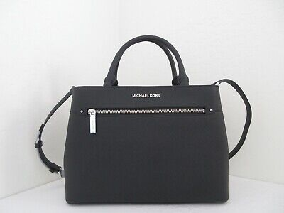 4034357ef430 Nwt Authentic Michael Kors Hailee Medium Saffiano Leather Satchel-$268-Black