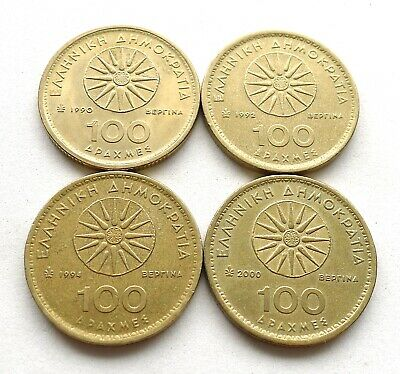 GREECE 100 DRACHMA x 4, 1990, 1992, 1994 + 2000, ALEXANDER THE GREAT. KM//159
