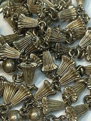 """† Stunning Heavy Vintage Sterling """"Wedding Bell"""" Rosary Necklace 30"""" 37 Grams †"""