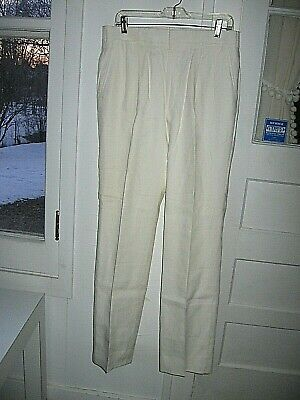 VINTAGE 1980s  OFF WHITE LINEN BLEND DRESS SLACKS - 32 X 33 - Y. WILLIAM YU CO.