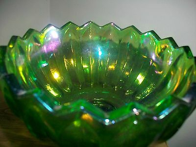 Vintage Indiana Green Iridescent Carnival Glass Compot