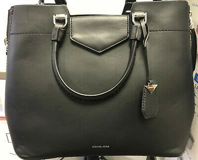 d65beaf3ec7d Michael Kors Blakely Viola Braid Handle HandBag Black New w/o Tags Retail  $398