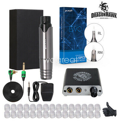 Dragonhawk New Tattoo Machine Gun Set Kit Motor Rotary Pen Power Needles