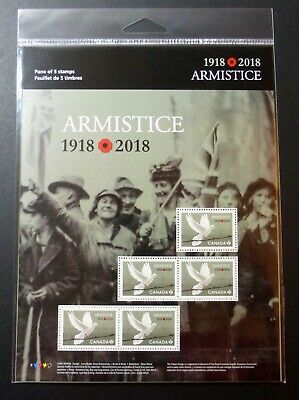 Canada Armistice 1918-2018 Full Pane 5 Stamps - Wwi History War 100 Years