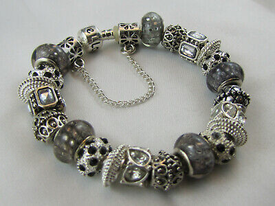 "925 SILVER STAMPED 20cm EUROPEAN STYLE CHARM BRACELET ""SILVER RADIANCE"" #1688"