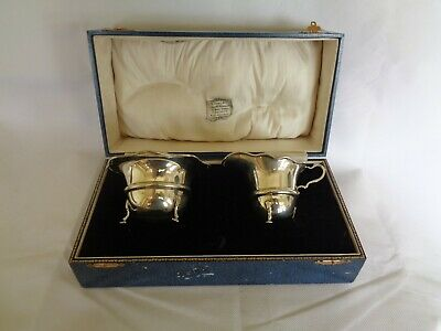 Hallmarked sterling silver cream and suger bowl john wire & sons birmigham 1924