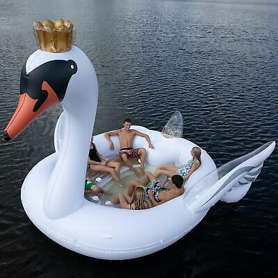 6 Person HUGE Party Island 20 ft Inflatable SWAN Summer Lake Ocean Lounge