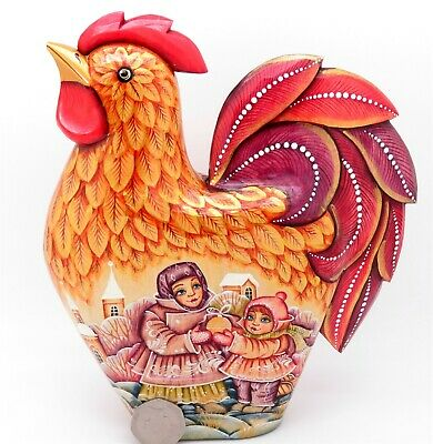 ORANGE ROOSTER FIGURE Russian Hand Carved Painted Winter seen Beautiful Children