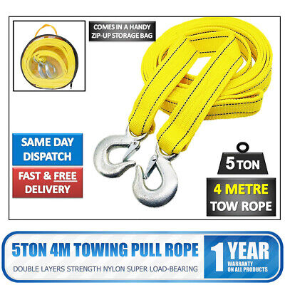 5 TONNE 4M Tow Towing Pull Rope Strap Heavy Duty Road Recovery Hooks Car Van