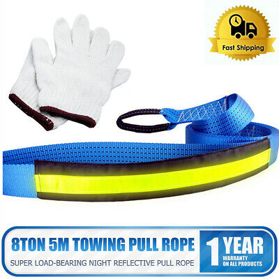 Tow Rope 8T 4x4 Heavy Duty Towing Pull Strap Road Recovery with Two Shackles 5M