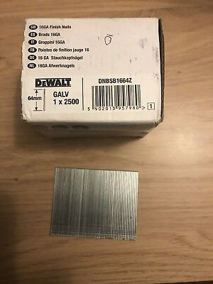 1 BOX OF DeWalt DNBSB1664Z 16Ga Galvanised Finish Nails 64mm 2500