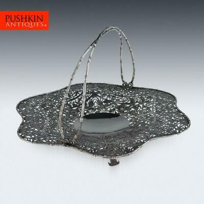 ANTIQUE 19thC CHINESE EXPORT SOLID SILVER BASKET, WANG HING c.1880