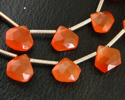 AA Natural Carnelian Faceted Hexagon Briolette Gemstone Beads (6 beads)