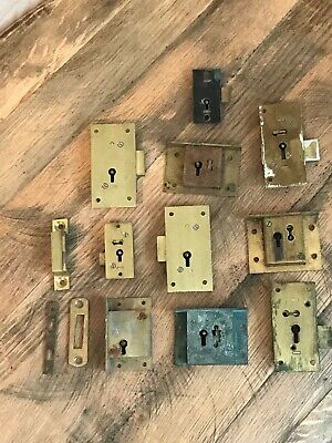 Job Lot 10 Vintage Brass Cabinet Cupboard Door Locks Keep Plate No Keys Gibbons