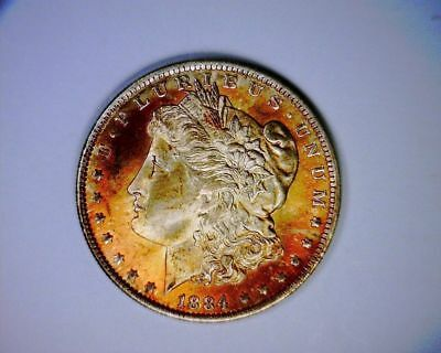 CH/GEM/BU Beautifully Toned 1884o Morgan silver Dollar Coin 1884 o