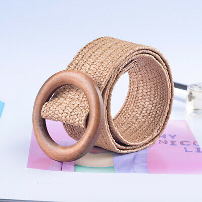 Women Casual Round Wooden Buckle Straw Belt Elastic Braided Wide Woven Waistband