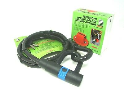 Mammoth Motorbike Cycle Bike Loop & U Cable Security Disc Lock 1.6M + Anchor Red