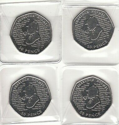 sherlock holmes 50p 2019 brand new from minted bag uncirculated x 4 coins
