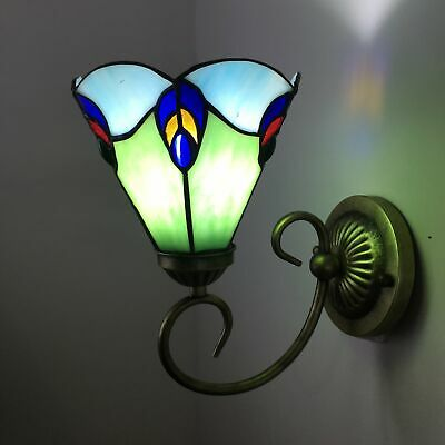 Tiffany Wall Lamp Metal Stained Glass Peacock Tail Handmade Vintage Lights