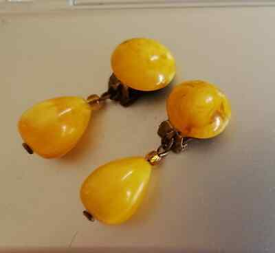 Art Deco 30's Butterscotch Amber Marbled Bakelite Clip-On Dangle Earrings Tested