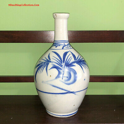 Old Korean Blue and White Porcelain Soju Sake Tokkuri Bottle Japanese Market