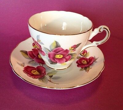 Grosvenor Jackson And Gosling - TeaCup And Saucer - Red Hibiscus - England