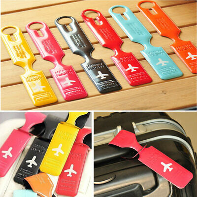 Simple Travel Luggage Bag Tags Holder Plastic Suitcase Name Address ID Label Tag