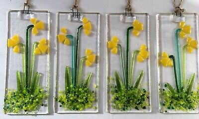 Fused Glass Daffodils, Daffodil Sun Catcher, Gift, Decoration