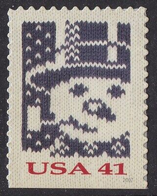 US 4209 Holiday Knits Snowman 41c single (1 stamp from booklet 20) MNH 2007