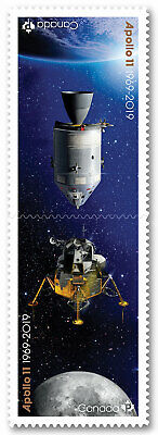 Canada Apollo 11 'P' pair set (2 stamps from booklet of 10) MNH 2019