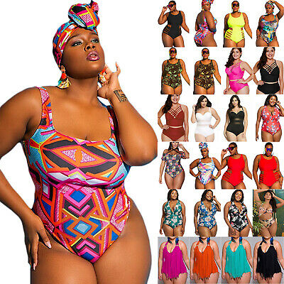 45f7b32c28 Plus Size Women One Piece Monokini Bikini Swimwear Swimsuit Bathing Beach  Padded