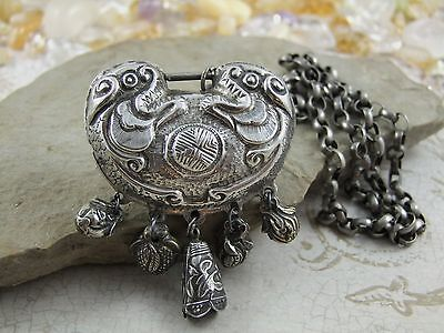 Rare Antique Chinese Old Sterling Silver Chain Necklace with Lock Pendant / 71 g