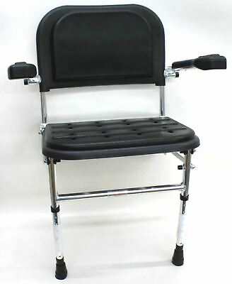 NYMAS 335004/BL Premium Black Wall Mounted Shower Seat w Legs, Back & Arms NEW