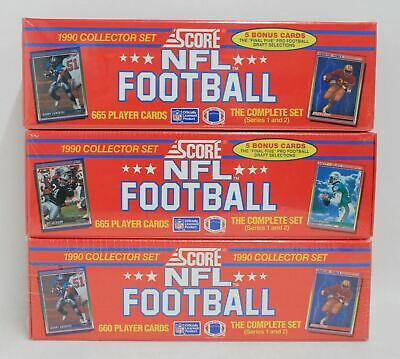 3 x BNIB SCORE NFL Football Trading Cards 1990 Collector Set Series 1 & 2
