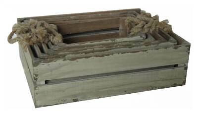 5-Pc Wooden Slatted Crate with Rope Handle [ID 3116067]