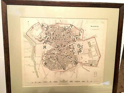 Antique Original 1831 Map of Madrid, Spain - Hand Colored, Professionally Framed
