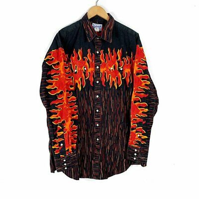 ff587afa95a15a RARE VTG USA Made RockMount Western All Over Flame Pearl Snap LS Shirt sz XL