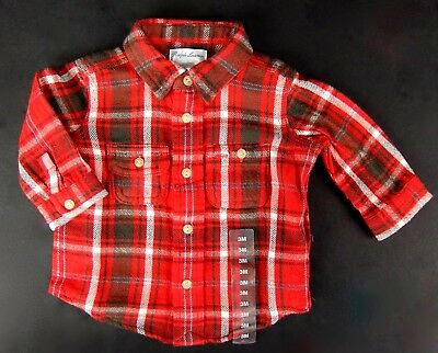 Polo Ralph Lauren Baby Boys Plaid Shirt Red Gray Cotton Flannel Size 3 Months